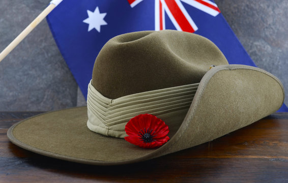 Australian Anzac Day army slouch hat with red poppy