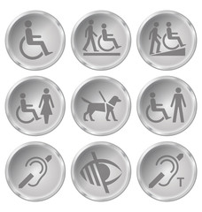Monochrome disability related icon set