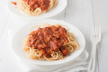 spagetti pasta with meat tomato sauce