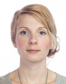 Mugshort of a Beautiful  Woman with no facial Expression
