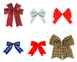 Festive set bow made of ribbon isolated on white, red green silv