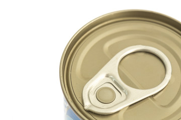 Aluminum canned food isolated on white background