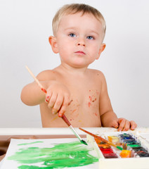 Baby boy painting