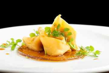 Fine dining, Lamb ragu ravioli on hay infusion jelly