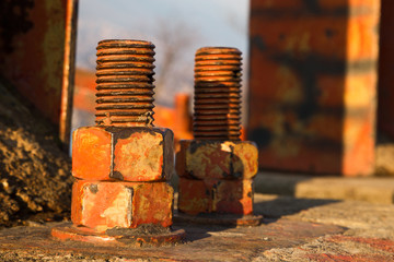 Old big rusty bolts