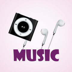 Music illustration, MP3 player and headphones vector