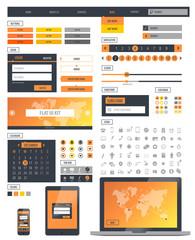 Ui kit responsive web design. Icons, template mockup.