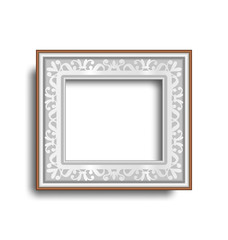 Silver frame with ornament isolated on white background