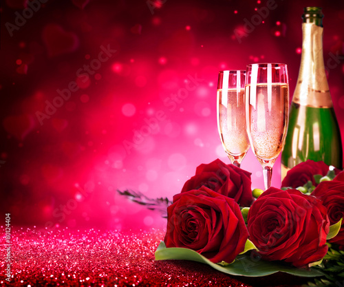 lovely babes are getting covered with roses and champagne  205210