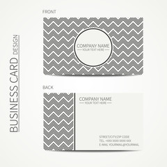 Vintage hipster simple monochrome business card template for