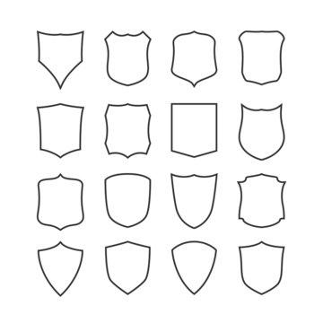 Big set of blank, classic shields, templates.