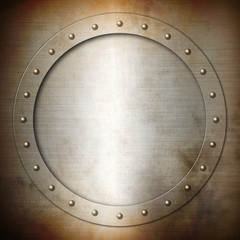 Rusty brushed Steel round frame