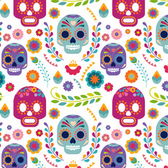 Mexico pattern with skull and flowers