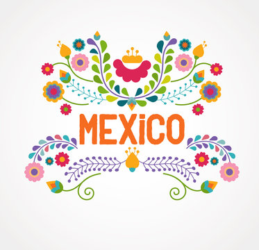 Mexico flowers, pattern and elements