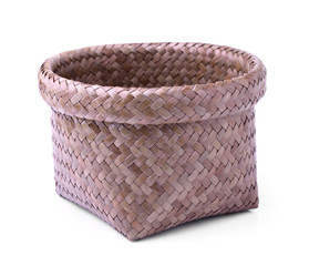 Basket water hyacinth weave on white