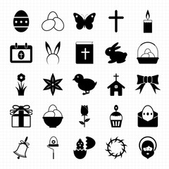 Easter icons set vector illustration