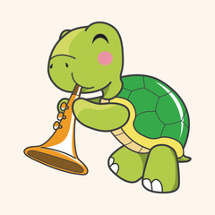 animal turtle playing instrument cartoon theme elements