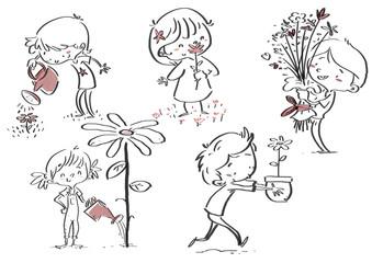 niños y flores