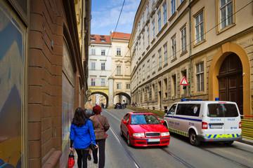 Чехия. Автомобили на улице Праги