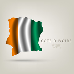Flag of COTE D'IVOIRE as a country with a shadow