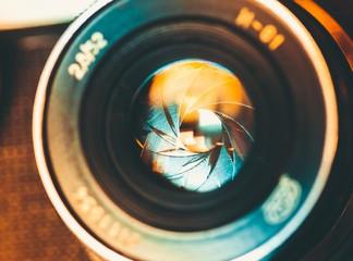 Camera. The diaphragm of a camera lens aperture. Selective focus