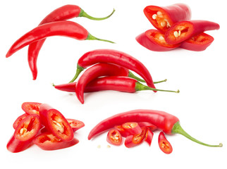 collection of red chilli peppers isolated on the white backgroun