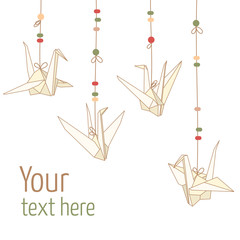 Vector isolated of hanging origami paper cranes