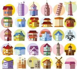 Printed kitchen splashbacks Cartoon cars Набор векторных многоквартирных домов