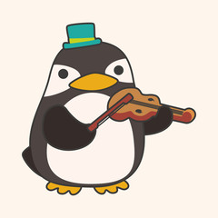 animal penguin playing instrument cartoon theme elements