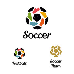 Hand drawn logo soccer ball and football boots
