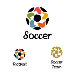 Hand-drawn logo with a soccer ball with hands like a star