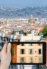 tourist photographs of old town of Nice, France