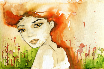 Wall Murals Painterly Inspiration abstract watercolor illustration depicting a portrait of a woman