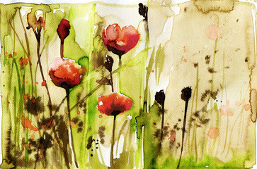 Photo on textile frame Painterly Inspiration watercolor illustration depicting spring flowers in the meadow