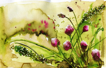Photo sur Toile Inspiration painterly clover