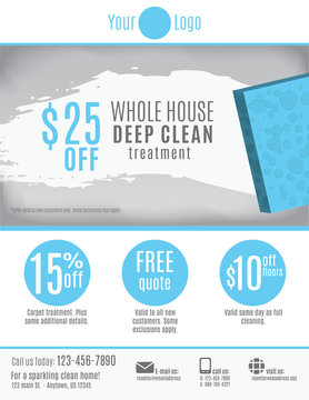 Cleaning Service flyer template with coupons