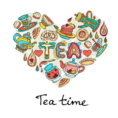 Vector stylized heart with hand drawn symbols of tea time