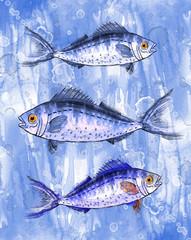 Стая голубых рыб.Рисунок-иллюстрация.