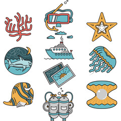 Sea leisure flat design vector icons