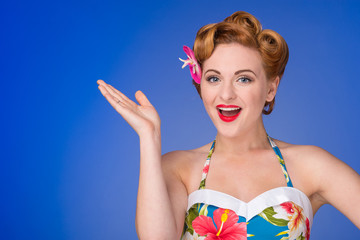 Retro  styled woman with fifties hair & makeup gestures