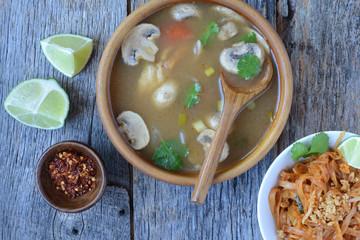 Tom Yum and Thai style noodles (Thai cuisine)