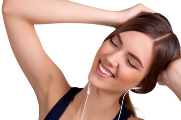 Young Beautiful Brunette Woman Listening Music and Entertaining
