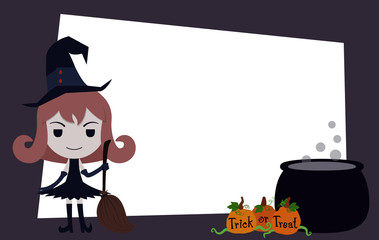 Halloween banner with cartoon witch character and orange pumpkin