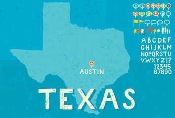 Map of Texas with icons