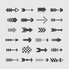 Assorted silhouette direction arrows icons set