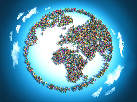 People seen from above forming the earth globe shape