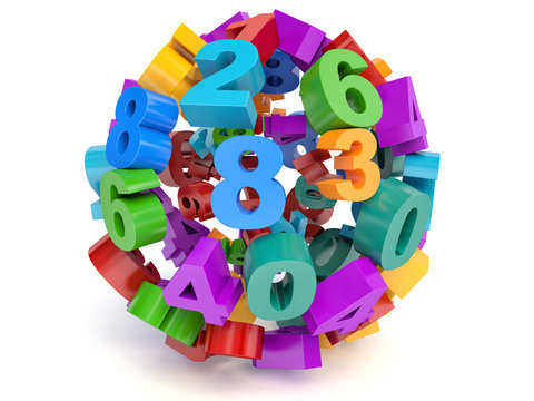 Colorful 3d sphere of numbers