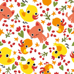 Seamless pattern with animals.