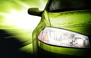 Green Sport Car - Front side