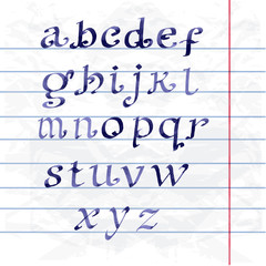 Collection Handwritten watercolor letters. font on paper